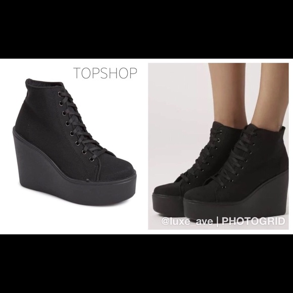 a6f77fbbf6ae Topshop Shoes | Humble Lace Up Wedge Sneakerpreowned | Poshmark